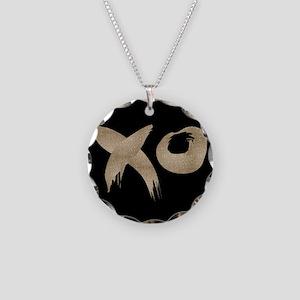 brushstroke black gold XOXO Necklace Circle Charm