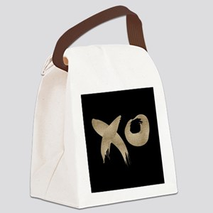 brushstroke black gold XOXO Canvas Lunch Bag