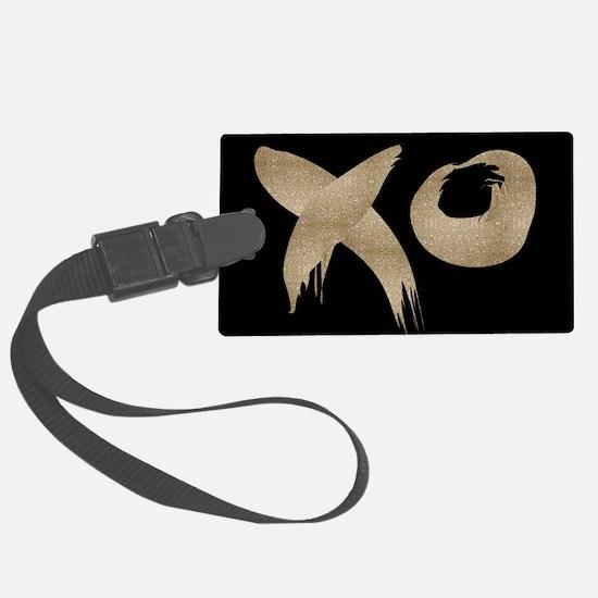 brushstroke black gold XOXO Luggage Tag