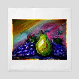 Fruit, Pears, grapes! Bright art! Queen Duvet