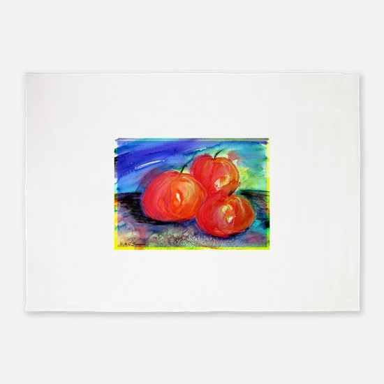 Red Apples, fruit art! 5'x7'Area Rug