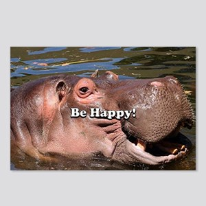 Be Happy: African Hippo i Postcards (Package of 8)
