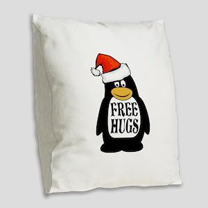 Hugs the Penguin Burlap Throw Pillow