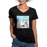 Snowscout Firebuilding Women's V-Neck Dark T-Shirt