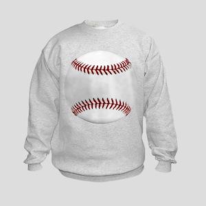 White Round Baseball Red Stitching Sweatshirt