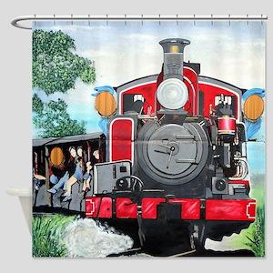 Steam train mural Shower Curtain