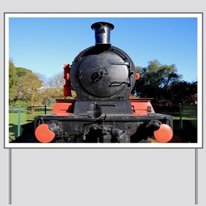 Red and black steam train engine 1 Yard Sign
