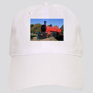 Red and black steam train engine 2 Cap