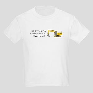 Christmas Excavator Kids Light T-Shirt