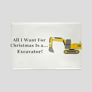 Christmas Excavator Rectangle Magnet