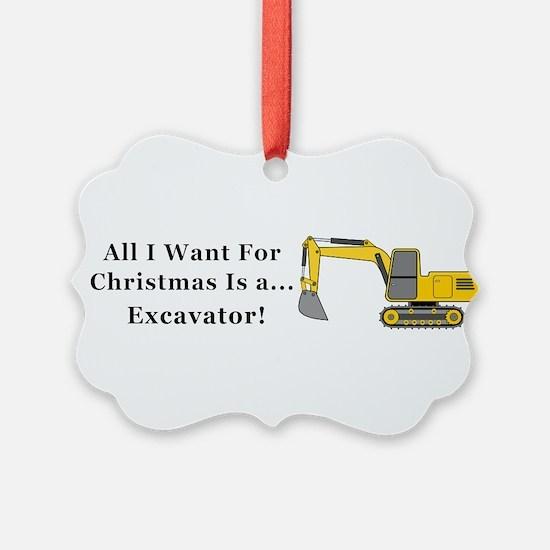 Christmas Excavator Ornament