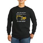 Christmas Excavator Long Sleeve Dark T-Shirt