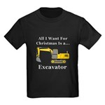 Christmas Excavator Kids Dark T-Shirt