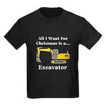 Christmas Excavator Kids Dark T-Shirt