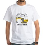 Christmas Excavator White T-Shirt