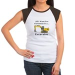 Christmas Excavator Junior's Cap Sleeve T-Shirt