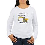Christmas Excavator Women's Long Sleeve T-Shirt