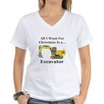Christmas Excavator Women's V-Neck T-Shirt