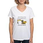Christmas Excavator Women's V-Neck T-Shirt