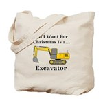 Christmas Excavator Tote Bag