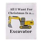 Christmas Excavator Throw Blanket