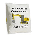 Christmas Excavator Burlap Throw Pillow