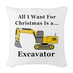 Christmas Excavator Woven Throw Pillow