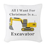 Christmas Excavator Woven Throw Pillow