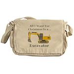 Christmas Excavator Messenger Bag
