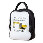 Christmas Excavator Neoprene Lunch Bag