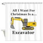 Christmas Excavator Shower Curtain