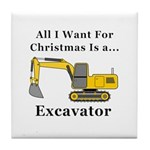 Christmas Excavator Tile Coaster