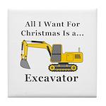 Christmas Excavator Tile Coaster