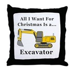 Christmas Excavator Throw Pillow