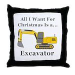 Christmas Excavator Throw Pillow