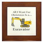 Christmas Excavator Framed Tile