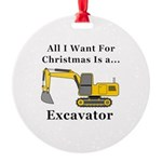 Christmas Excavator Round Ornament
