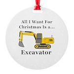 Christmas Excavator Round Ornament