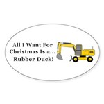 Christmas Rubber Duck Sticker (Oval 50 pk)