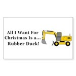 Christmas Rubber Duck Sticker (Rectangle 50 pk)