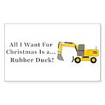Christmas Rubber Duck Sticker (Rectangle 50 pk)
