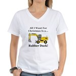 Christmas Rubber Duck Women's V-Neck T-Shirt