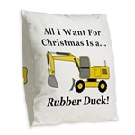 Christmas Rubber Duck Burlap Throw Pillow