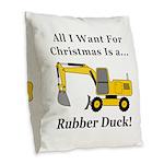 Christmas Rubber Duck Burlap Throw Pillow
