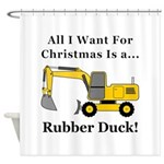 Christmas Rubber Duck Shower Curtain