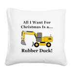 Christmas Rubber Duck Square Canvas Pillow