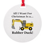 Christmas Rubber Duck Round Ornament