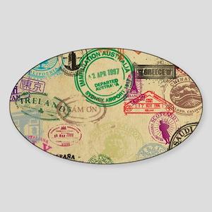 Vintage Passport Stamps Sticker