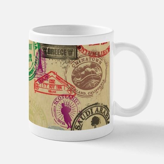 Vintage Passport Stamps Mugs