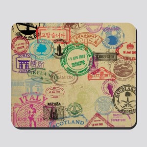 Vintage Passport Stamps Mousepad